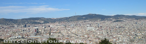 Panoramic views of Barcelona from Montjuic Hill